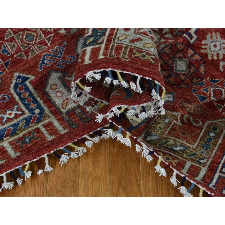 Antiqued Caucasian Akstafa Design Hand Knotted Pure Wool Rug In New Condition For Sale In Carlstadt, NJ