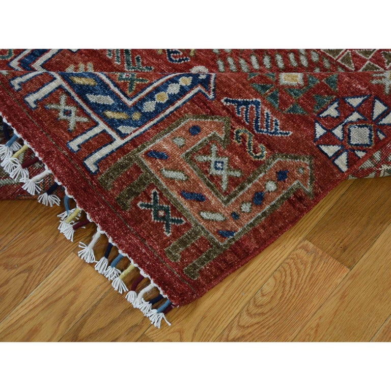 Contemporary Antiqued Caucasian Akstafa Design Hand Knotted Pure Wool Rug For Sale