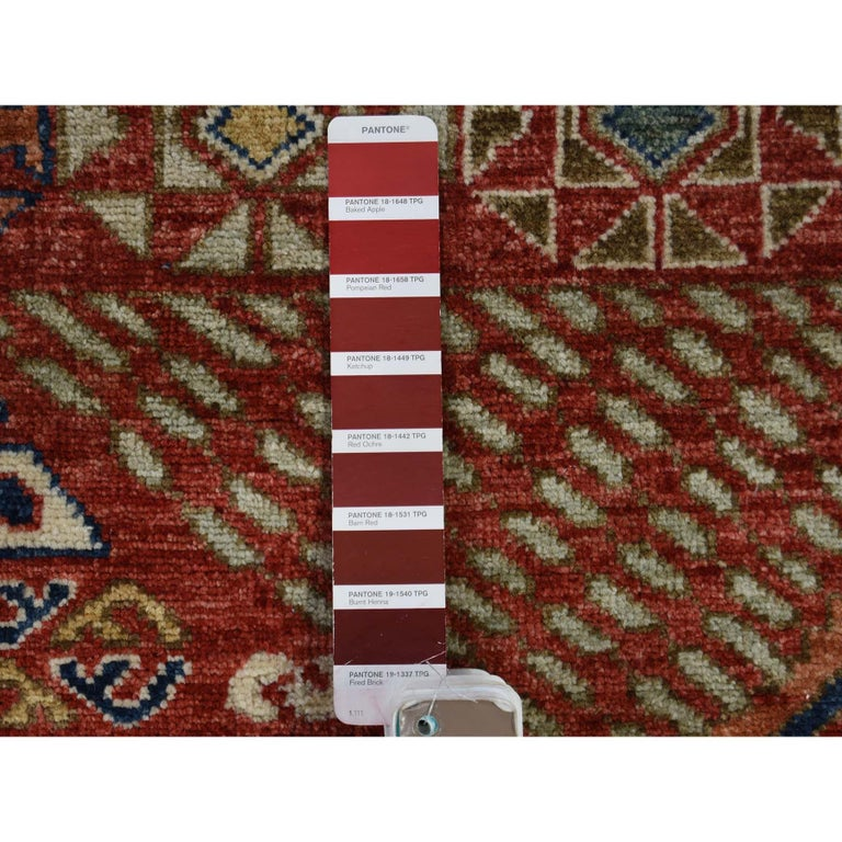 Antiqued Caucasian Akstafa Design Hand Knotted Pure Wool Rug For Sale 1
