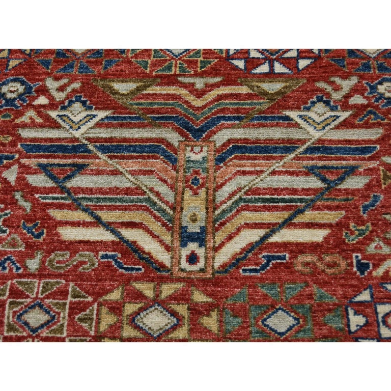 Antiqued Caucasian Akstafa Design Hand Knotted Pure Wool Rug For Sale 2