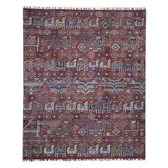 Antiqued Caucasian Akstafa Design Hand Knotted Pure Wool Rug