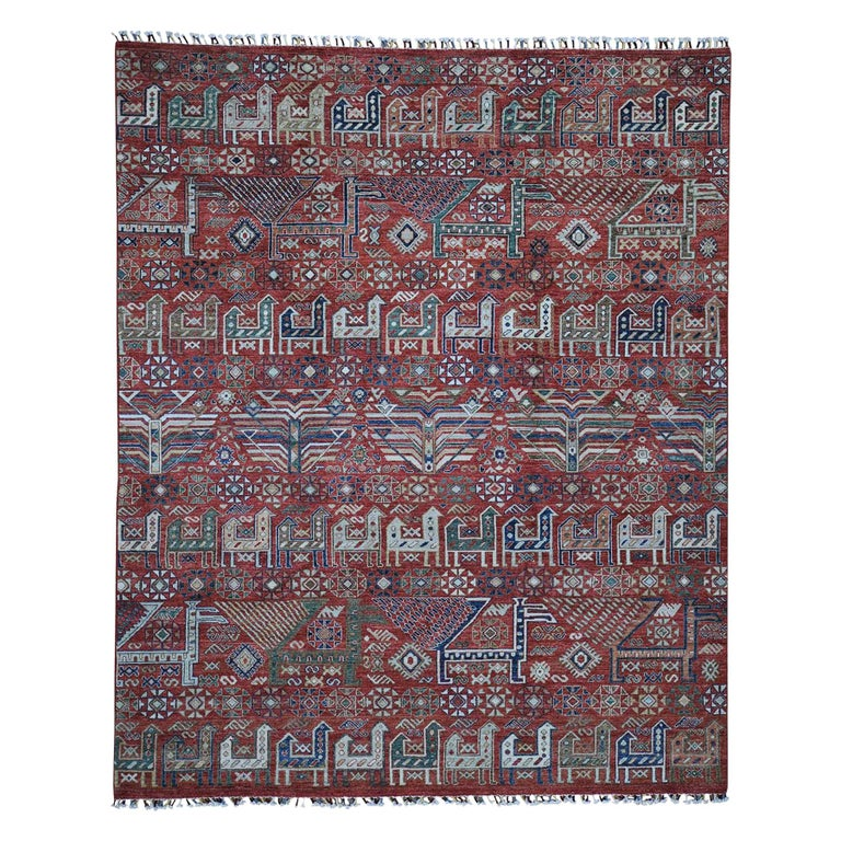 Antiqued Caucasian Akstafa Design Hand Knotted Pure Wool Rug For Sale