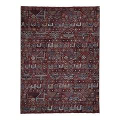 Antiqued Caucasian Akstafa Design HandKnotted Pure Wool Oriental Rug