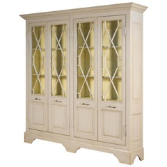 Antiqued Farmhouse Style Painted Four Door Cabinet