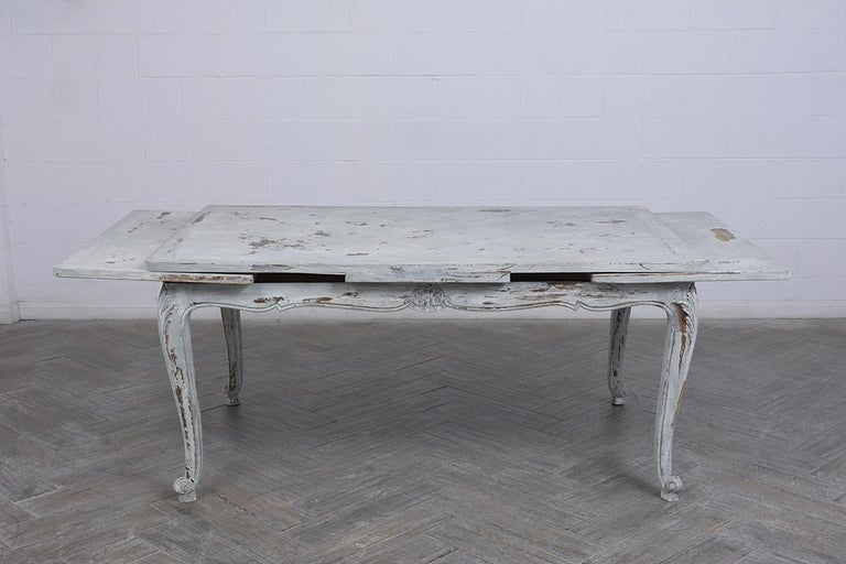 19th Century Antiqued French Painted Louis XVI Dining Table For Sale