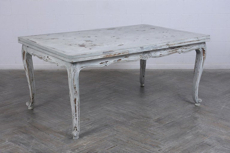 Walnut Antiqued French Painted Louis XVI Dining Table For Sale