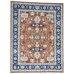 Antiqued Heriz Hand Knotted 100 Percent Wool Oriental Rug
