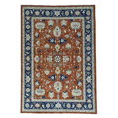 Antiqued Heriz Hand Knotted Pure Wool Oriental Rug
