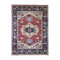 Antiqued Heriz Pure Wool Hand Knotted Oriental Rug