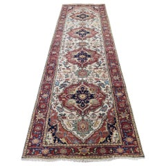 Antiqued Heriz Re-creation Runner Hand Knotted Oriental Rug