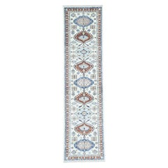 Antiqued Karajeh Pure Wool Hand Knotted Oriental Runner Rug