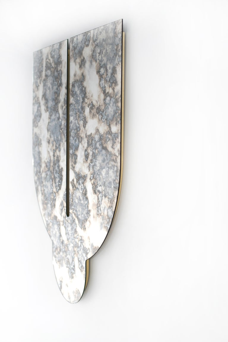 Contemporary Silver Antiqued Mirror - Leo Mirror by Ben & Aja Blanc For Sale