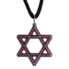 Antiqued Silver with Natural Rubies X-Large Star of David Pendant by Leon Mege