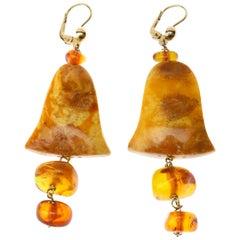 Antiques Baltic Amber 18 Karat Gold Earrings