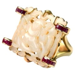 Antiques Carved Chinese Jade Ruby 18 Karat Gold Ring