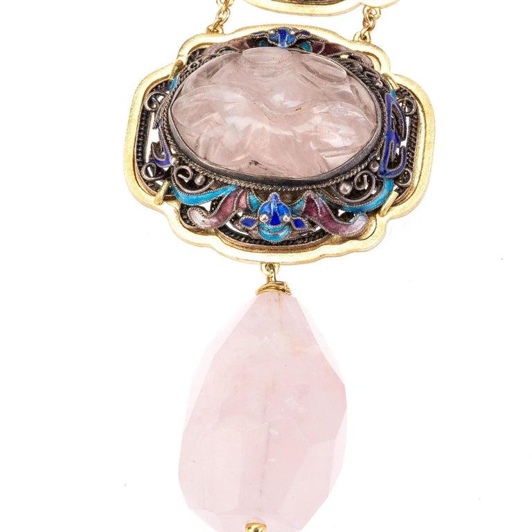 Antiques Chinese Button, Rose Quartz, Ruby Gold 18 Karat Pendant Necklace For Sale 5