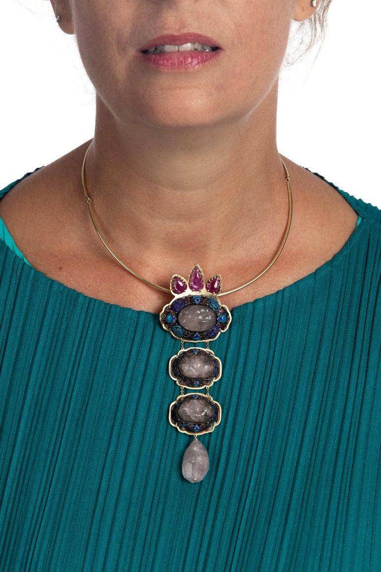 Antiques Chinese Button, Rose Quartz, Ruby Gold 18 Karat Pendant Necklace For Sale 7