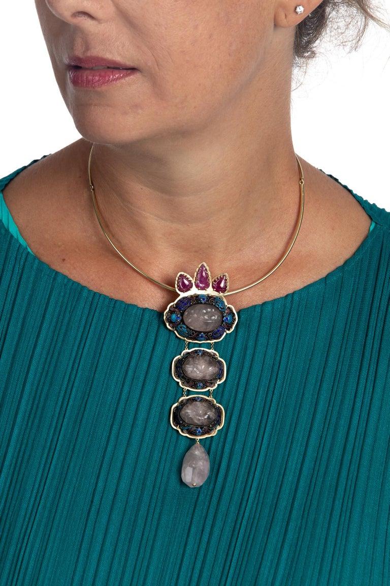 Antiques Chinese Button, Rose Quartz, Ruby Gold 18 Karat Pendant Necklace For Sale 8