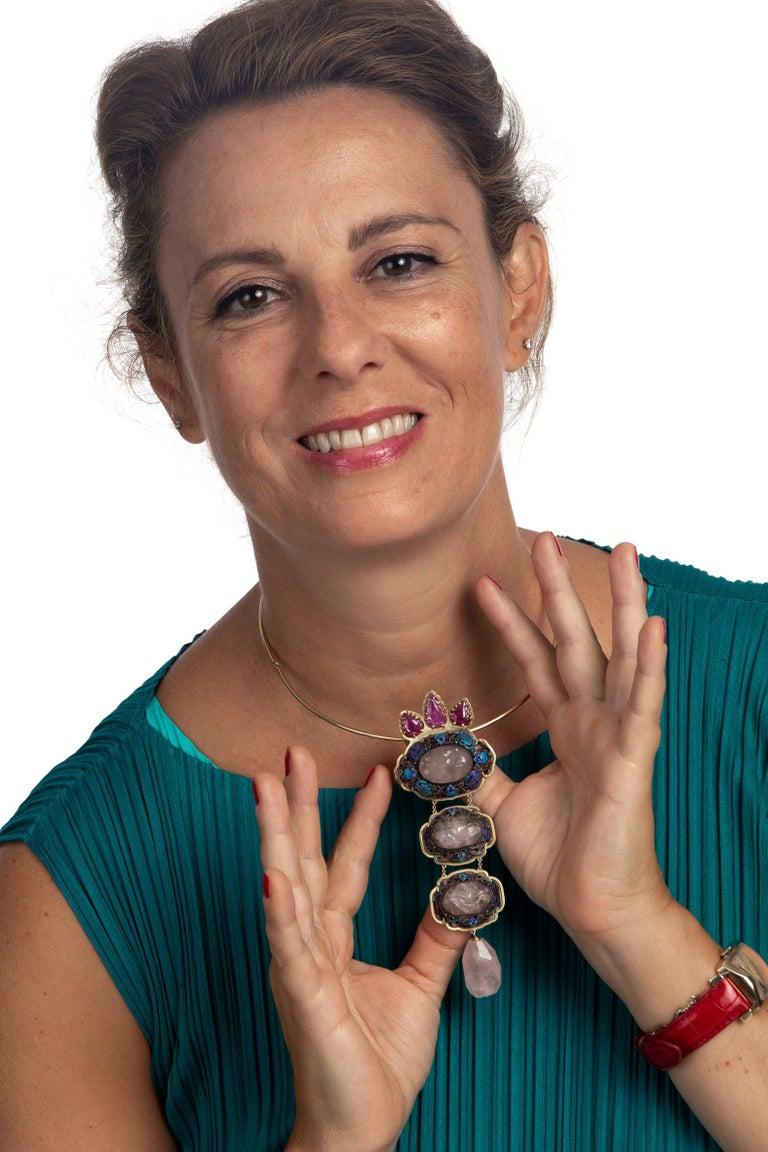 Antiques Chinese Button, Rose Quartz, Ruby Gold 18 Karat Pendant Necklace For Sale 9