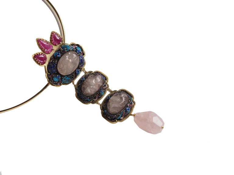 Antiques Chinese Button, Rose Quartz, Ruby Gold 18 Karat Pendant Necklace In New Condition For Sale In Milan, IT