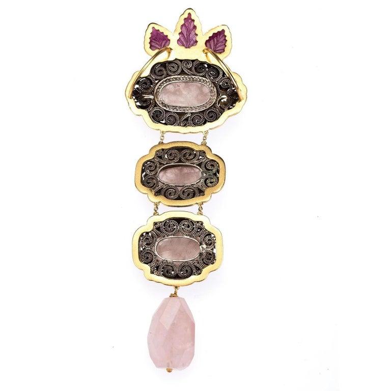 Antiques Chinese Button, Rose Quartz, Ruby Gold 18 Karat Pendant Necklace For Sale 1
