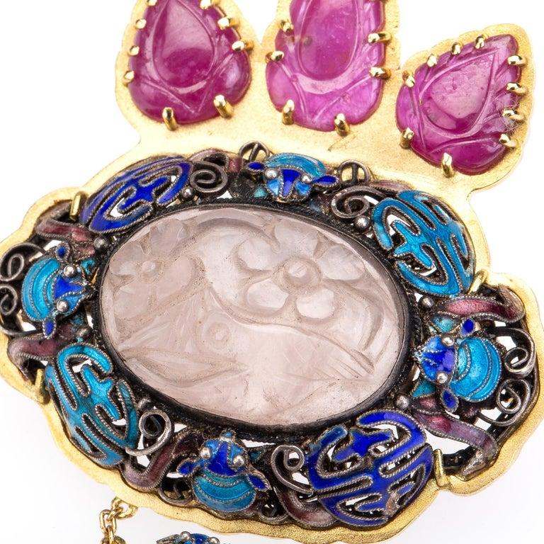 Antiques Chinese Button, Rose Quartz, Ruby Gold 18 Karat Pendant Necklace For Sale 2