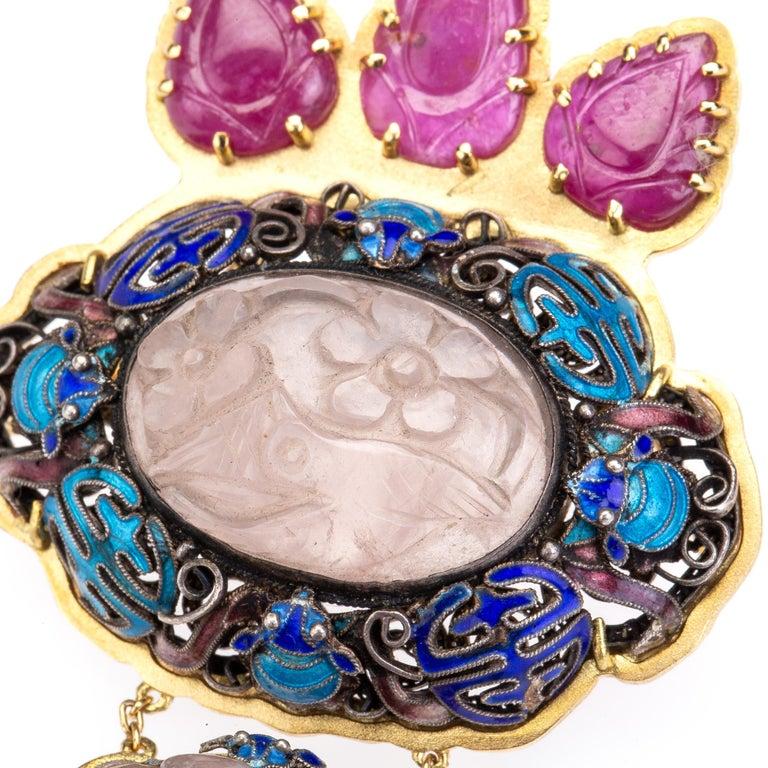 Antiques Chinese Button, Rose Quartz, Ruby Gold 18 Karat Pendant Necklace For Sale 3