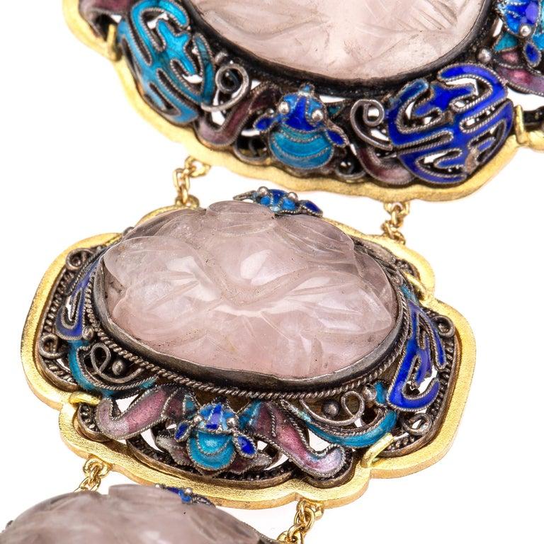 Antiques Chinese Button, Rose Quartz, Ruby Gold 18 Karat Pendant Necklace For Sale 4