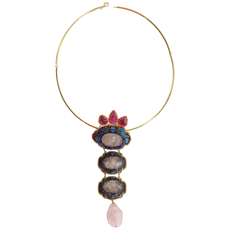 Antiques Chinese Button, Rose Quartz, Ruby Gold 18 Karat Pendant Necklace