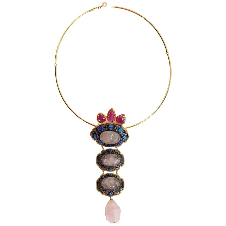 Antiques Chinese Button, Rose Quartz, Ruby Gold 18 Karat Pendant Necklace For Sale
