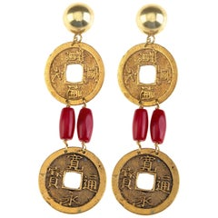 Antiques Coins Bambù Coral 18 Karat Gold Earrings