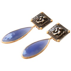 Antiques Deco Silver Plaques Agate 18 Karat Gold Earrings
