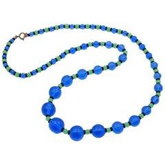 Antiques Glass Necklace 1930's Blue Sea Wave Color