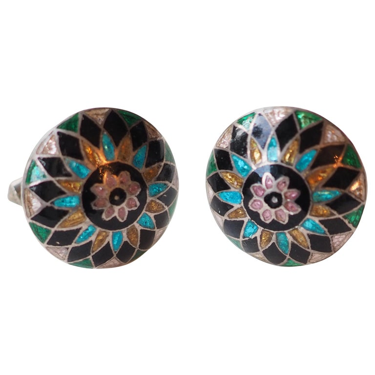 Antiques Indian Enamel Buttons Cufflinks 10 K Gold For Sale