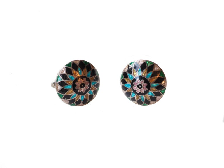 Art Deco Antiques Indian Enamel Buttons Cufflinks 10 Karat Gold For Sale
