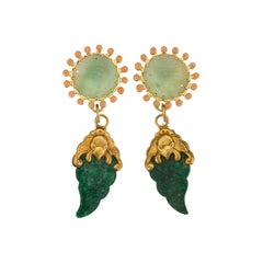 Antiques Jade Coral 18 Karat Gold Earrings