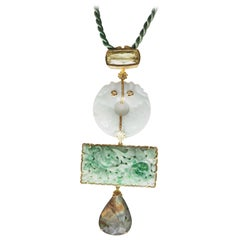 Antiques Jade Labradorite Citrine Pendant Necklace
