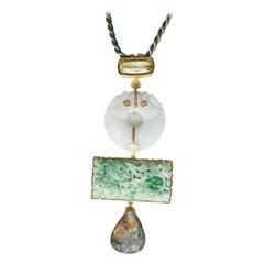 Antiques Jade Labradorite Citrine Pendant Necklace