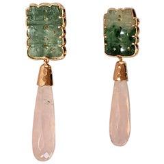 Antiques Jade Rose Quartz Briolè Drops 18 Karat Rose Gold Earrings
