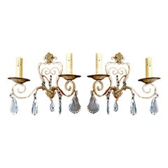Antiques pair of French iron/cristal sconces