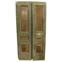 Antiques Pair of Wooden Double Doors, Green Lacquered Molure, 1800 Italy