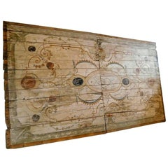 Antiquet Hand-Painted Plank Ceiling, Grotesque '700, Sicily, Italy