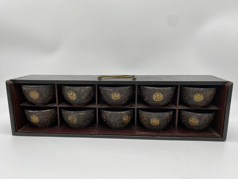 Antique Chinese a Set of 10 Silver Inlay Coconut Wine Cups In Good Condition For Sale In Brea, CA