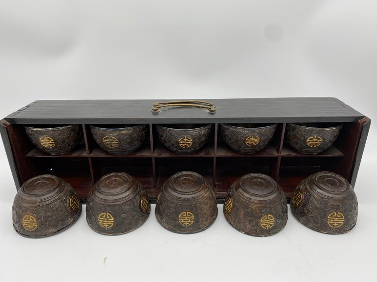 Antique Chinese a Set of 10 Silver Inlay Coconut Wine Cups For Sale 1