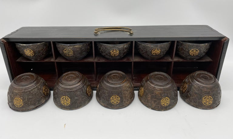 Antique Chinese a Set of 10 Silver Inlay Coconut Wine Cups For Sale 2