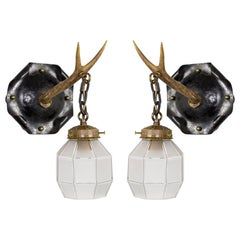 Antler Arm Sconces with Octagonal Shades 'Pair'