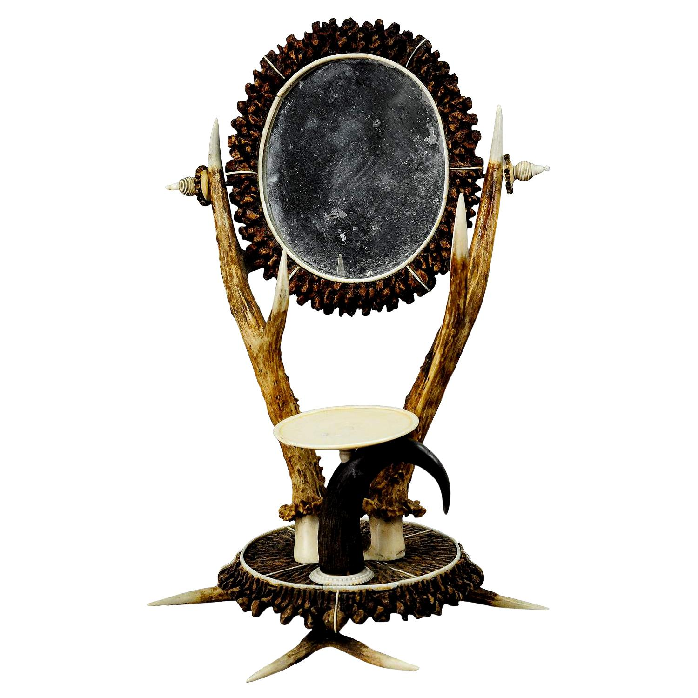 Antler Dressing Table Set with Mirror, circa 1840