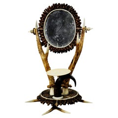 Antler Dressing Table Set with Mirror, circa 1840