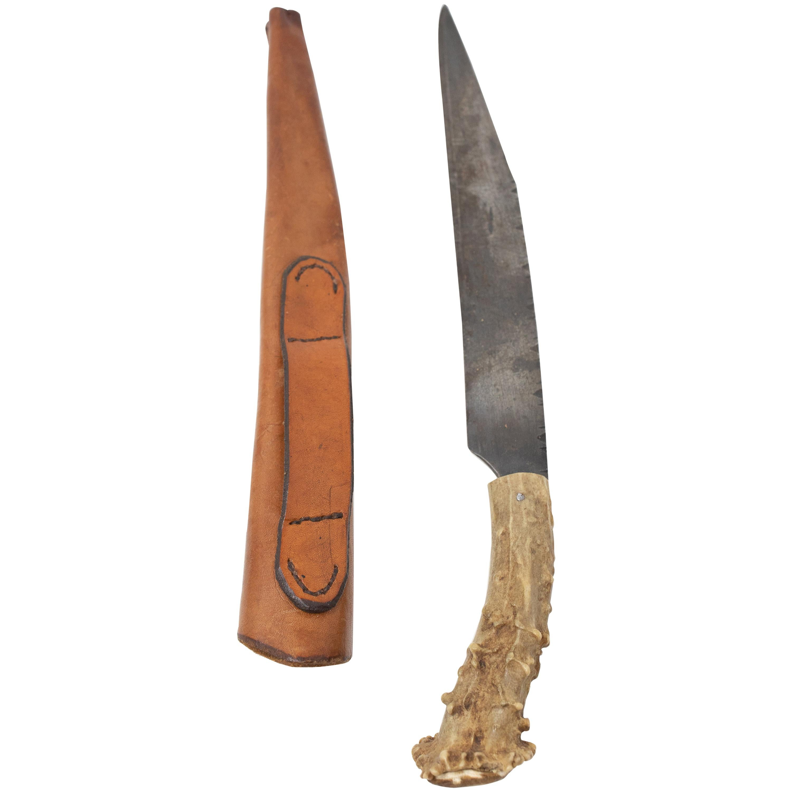 Antler Handle Long Blade Knife with Leather Sheath