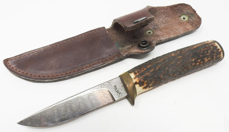 Folk Art Antler Handle Short Knife with Leather Sheath For Sale